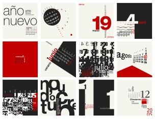 Páginas mensuales con distintas composiciones tipográficas