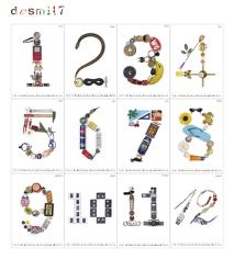 Juego tipográfico componiendo los números a partir de diversos objetos