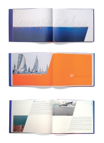 Páginas interiores del libro conmemorativo del 25 aniversario del Club Náutico de Calpe. Textos de Miquel González Ivars