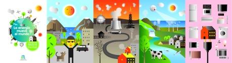ilustraciones para cuaderno escolar sobre energía y medioambiente editado por Diputación de Alicante