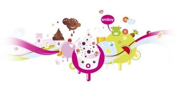 ilustración para producto helado de yogurt