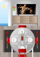 el salón-comedor. collage digital
